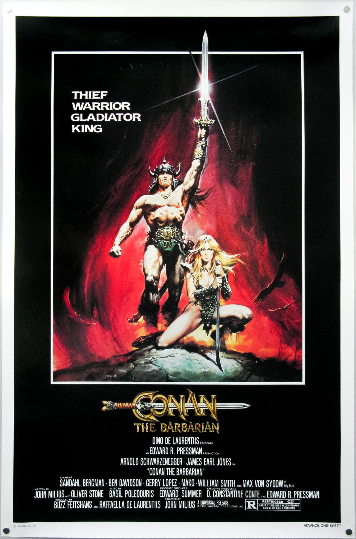 The American one sheet for Conan the Barbarian, painted by Renato Casaro in 1982