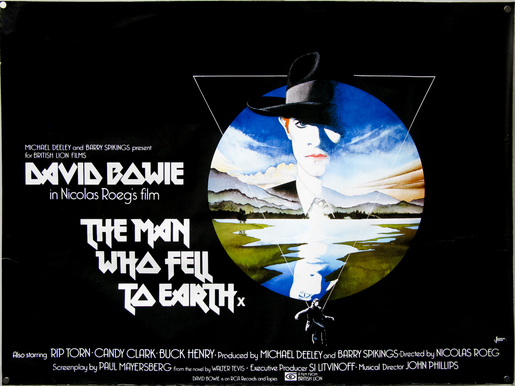 The Man Who Fell to Earth (1976)- quad poster with design and illustration by Vic Fair. Sim: 'Probably the best known of Fair's posters, and the only one regularly credited to him, since he liked it so much at the time he actually signed it.'