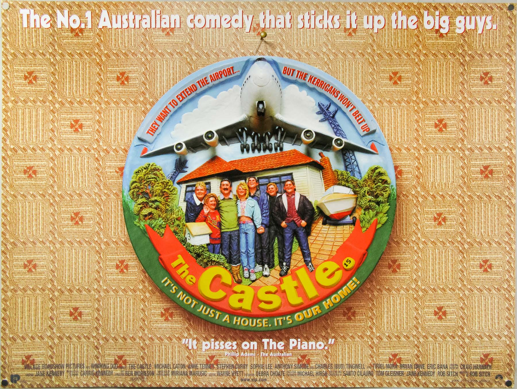 The UK quad for The Castle, designed by Steve Laws and Brian Bysouth, 1997. Brian designed and sculpted an actual plate that was then photographed for the poster.