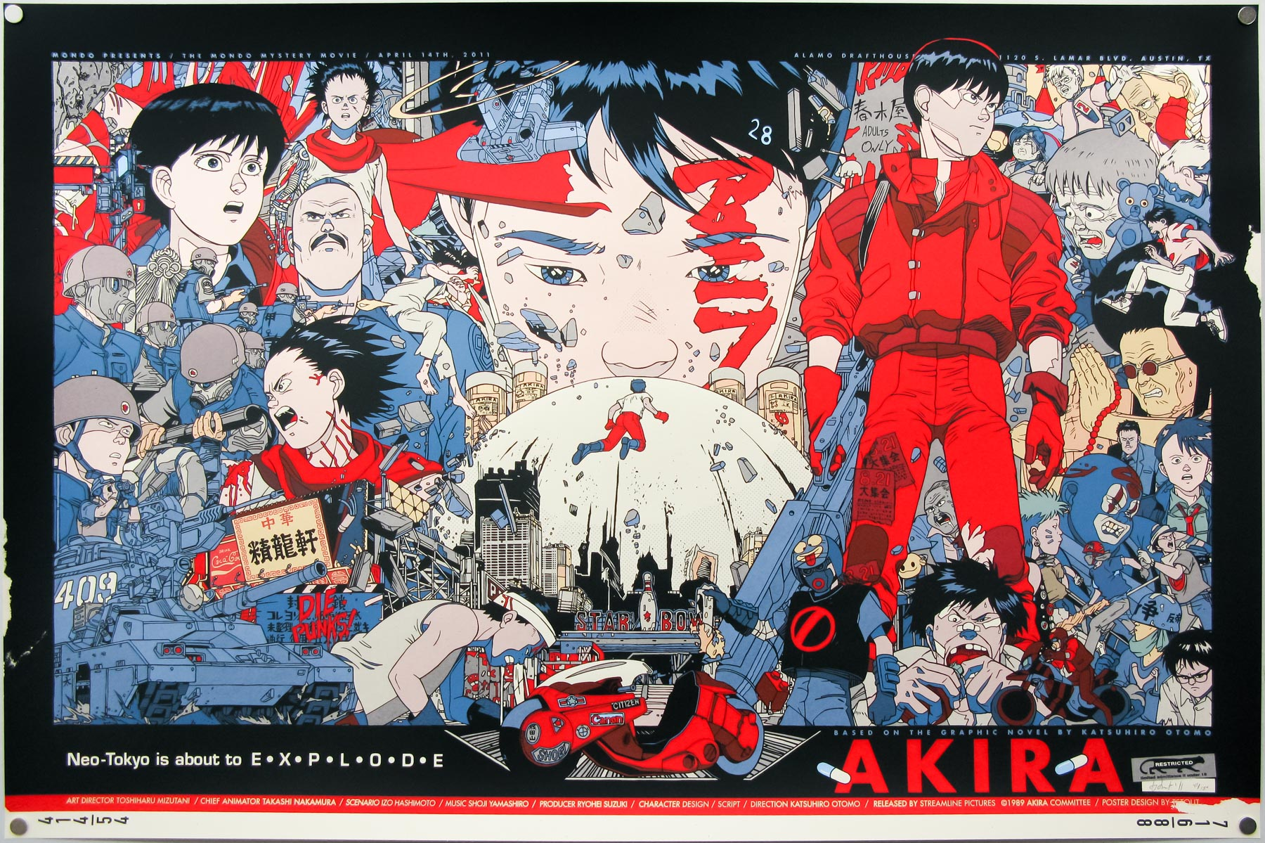 The regular style Akira screen print by Tyler Stout (2011)