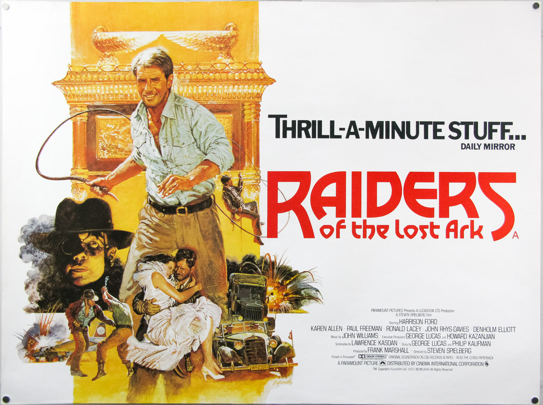 The style B quad for Raiders of the Lost Ark, with artwork by Brian Bysouth. This version was commissioned after the studio felt the first version, with artwork by Richard Amsel, wasn't exciting enough, 1981