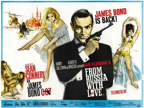 From Russia With Love - quad poster with artwork by Renato Fratini from a design by Eddie Paul. Sim: 'By some way the best of the Bond posters, with a top-drawer combination of stylish design and casually brilliant execution.'