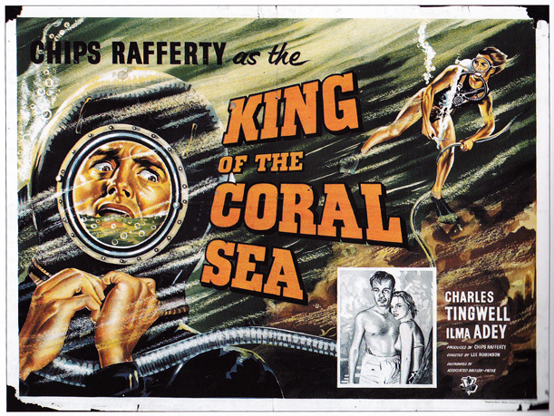King of the Coral Sea - quad - designer unknown. Sim: 'A marvellously dramatic hand-drawn litho for this picturesque Aussie adventure.'