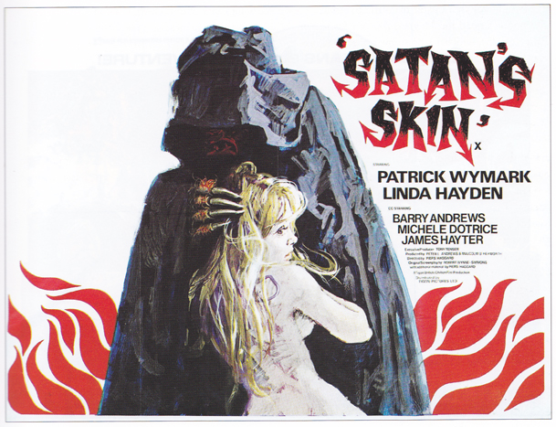 Satans Skin - quad with artwork by Arnaldo Putzu, probably from a design by Eddie Paul. Sim: 'This classic British horror poster, and the others in this introductory section of the book, were among the author's first purchases in his early teens.'