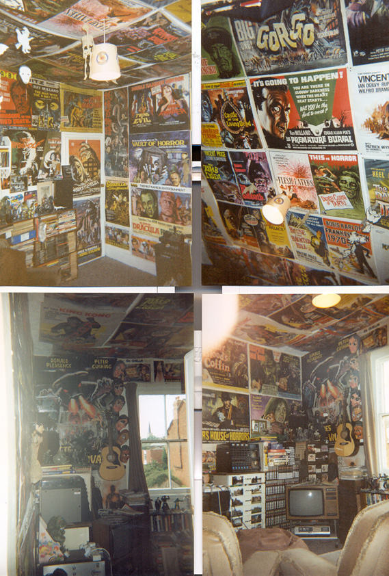 Another shot of Sim's Room, April 1992. Multiple British horror posters abound.