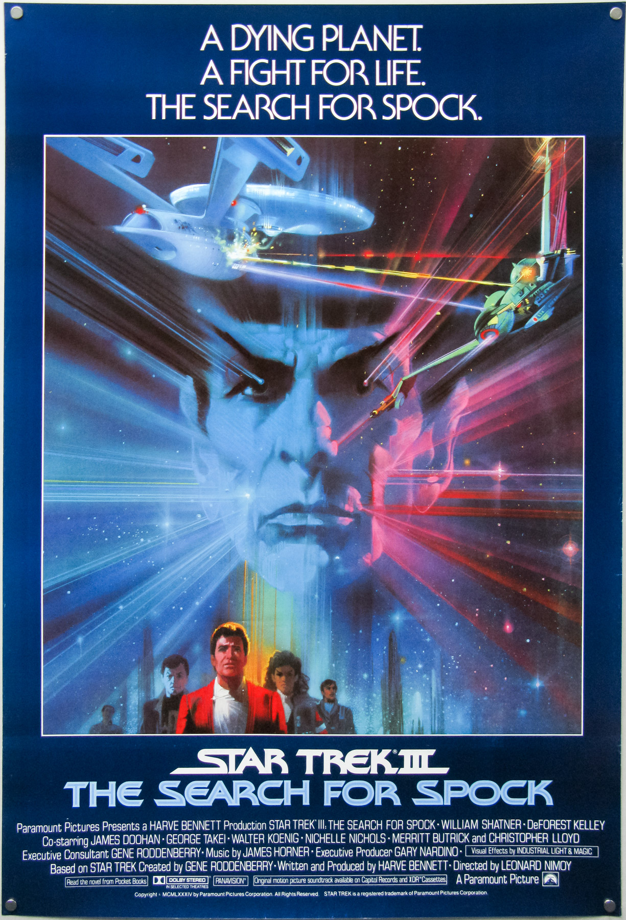 The international one sheet for Star Trek III - The Search For Spock with artwork by the late Bob Peak.