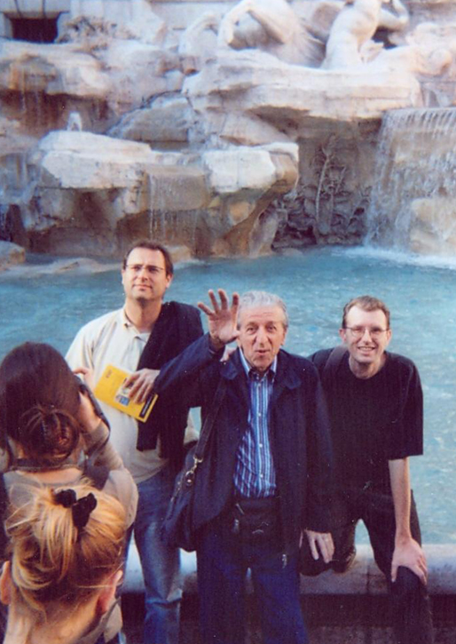 Sim with Arnaldo Putzu at the Trevi Fountain, Rome, in 2006