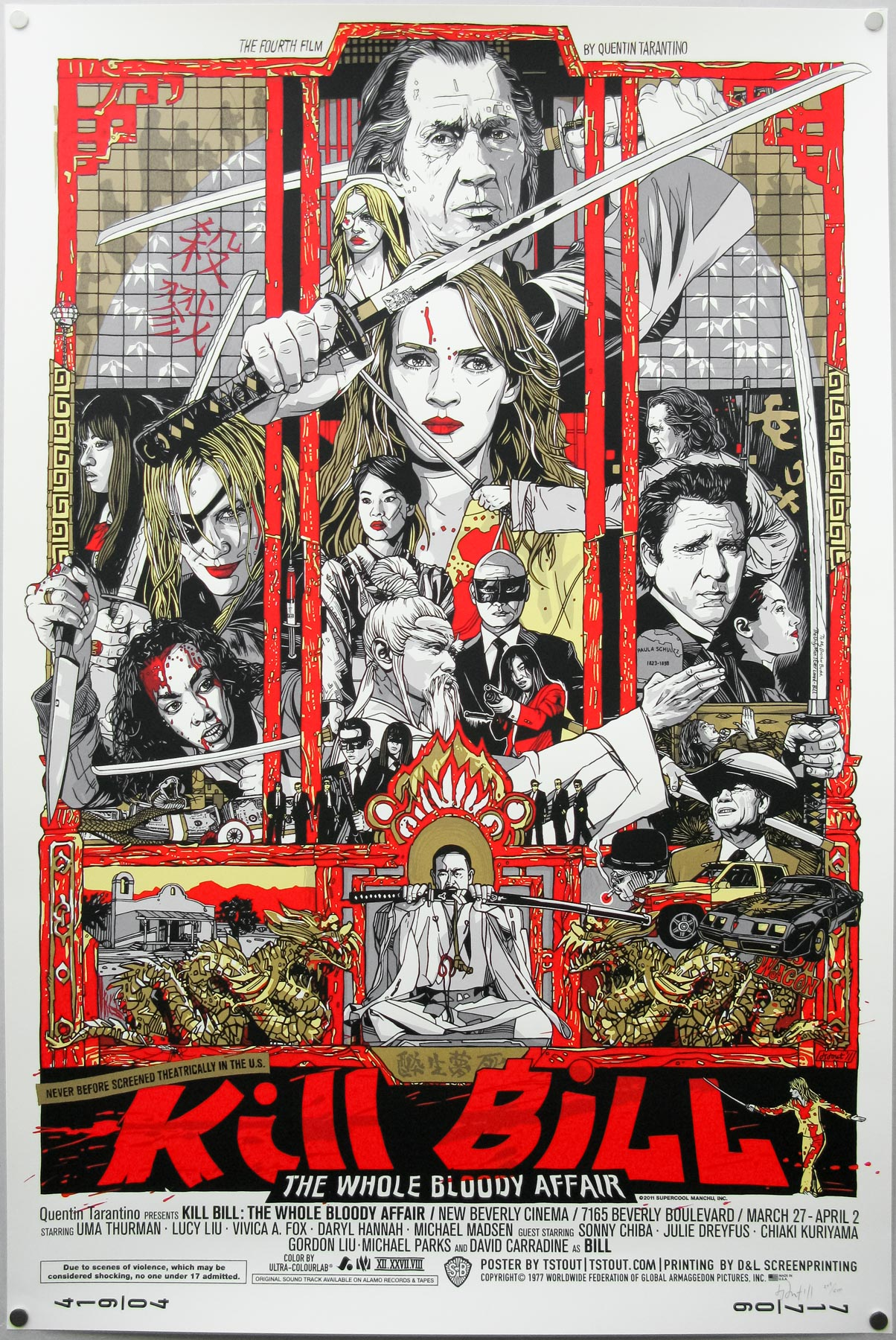Tyler Stout's screen print for Kill Bill: TWBA – this is a photograph of the regular version from my collection.