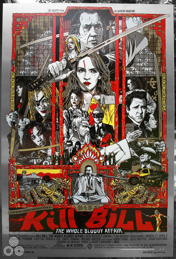 The special one of metal variant of the poster that was given to Quentin Tarantino as a birthday present.