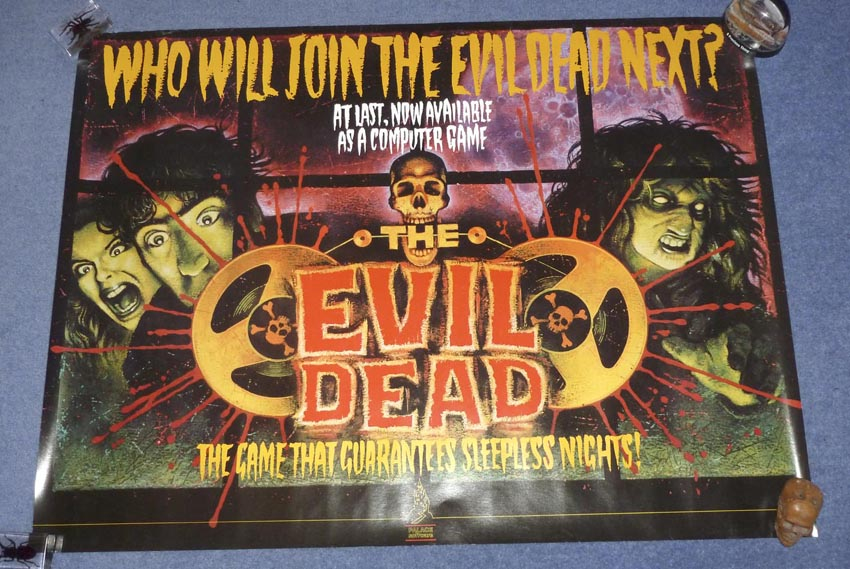 This is the poster for the Evil Dead computer game tie-in, which was released by Palace Software who were owned by the Palace Group, of which Palace Pictures (the British distributors of The Evil Dead) were a part.
