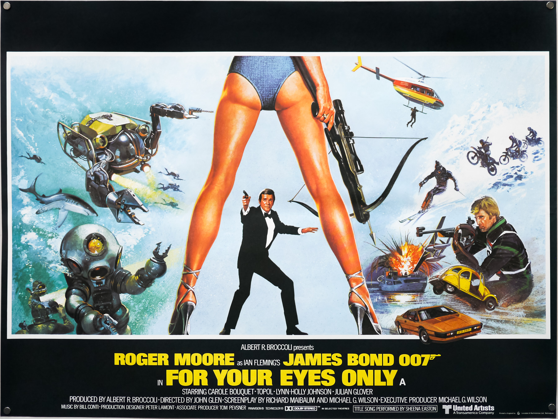 The UK quad for For Your Eyes Only, designed by Eric Pulford and painted by Brian Bysouth, 1981