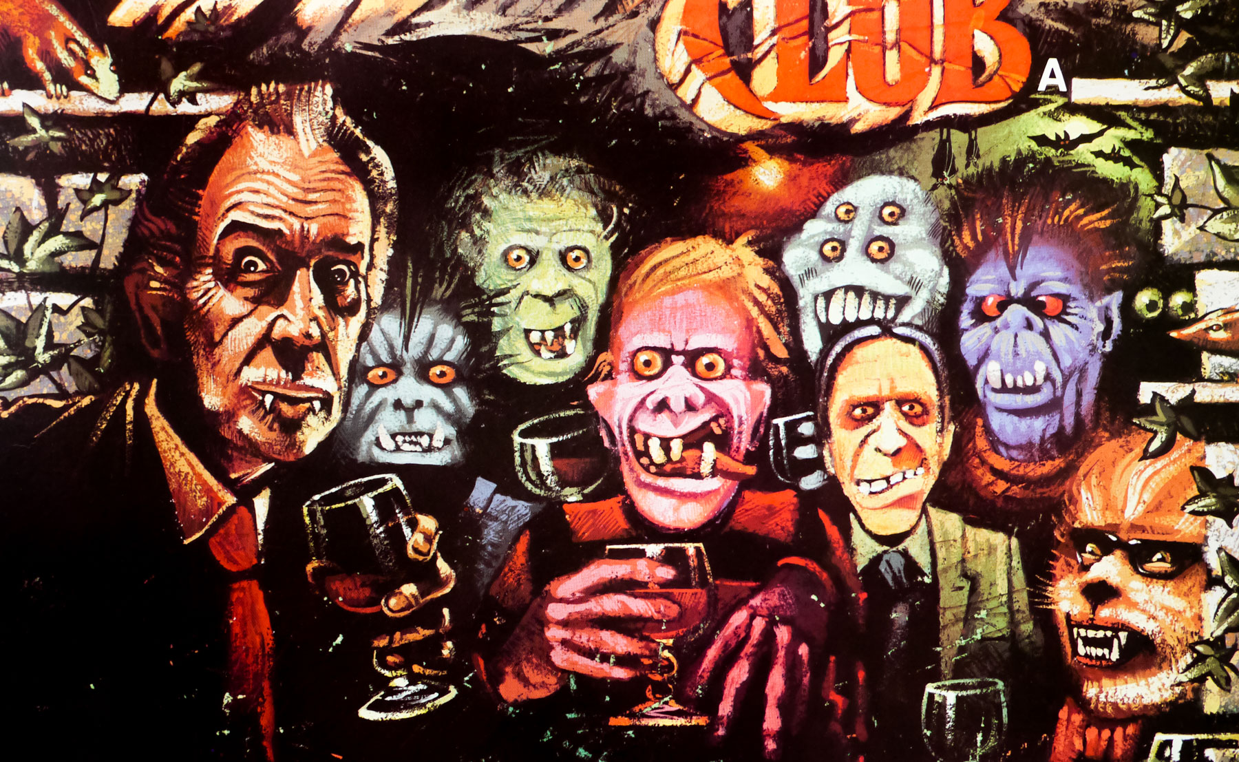 Close up detail of The Monster Club quad artwork by Graham Humphreys