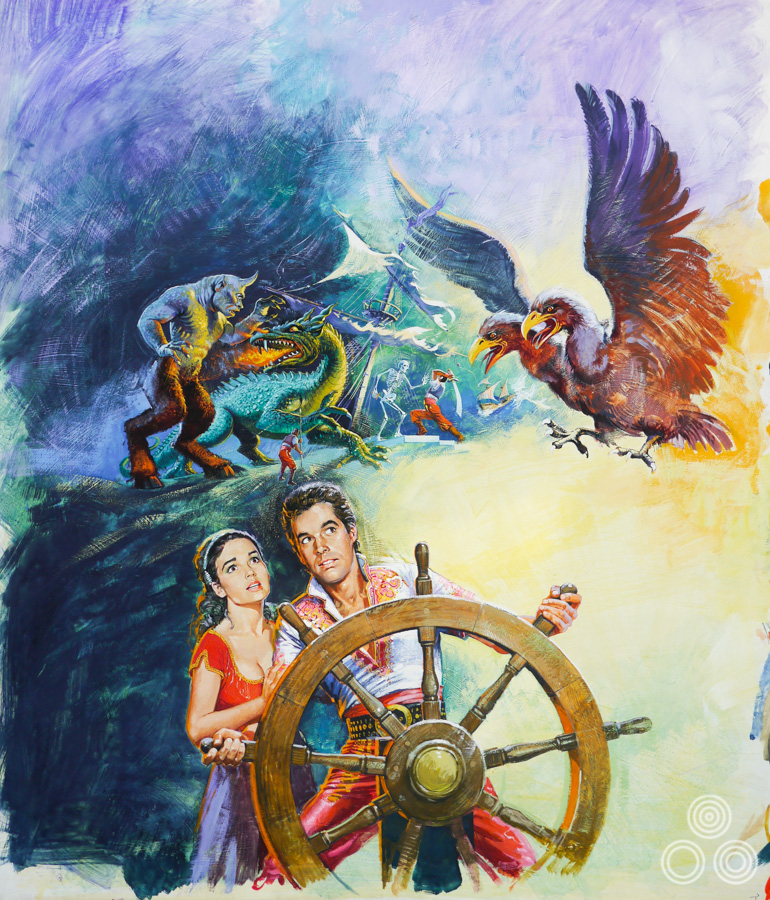 The 7th Voyage of Sinbad - original artwork painted for a UK one sheet and also used on a double-bill quad - copyright Brian Bysouth