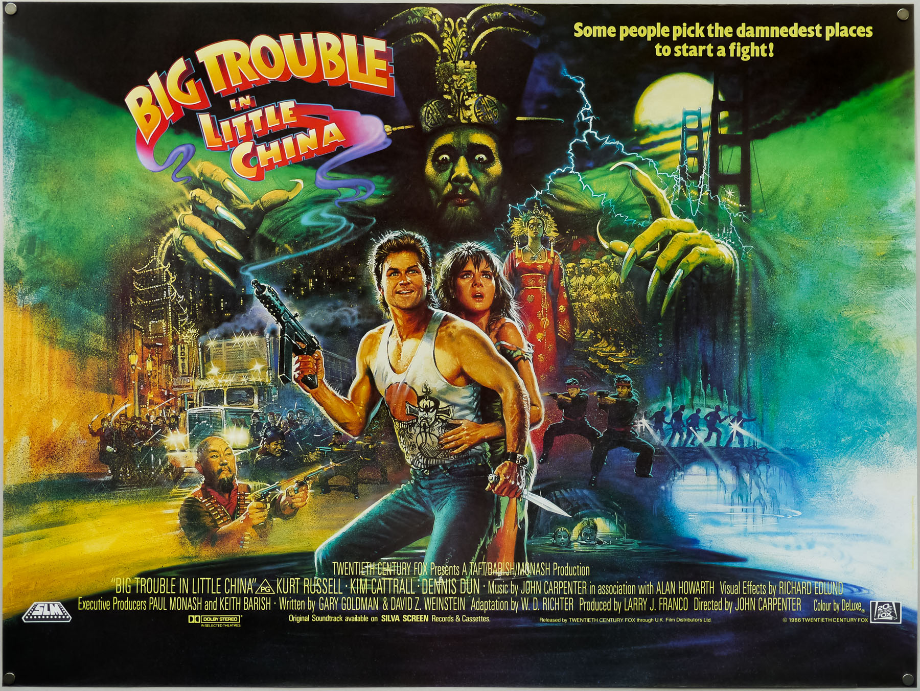 The British quad for John Carpenter's Big Trouble in Little China, painted by Brian Bysouth in 1986