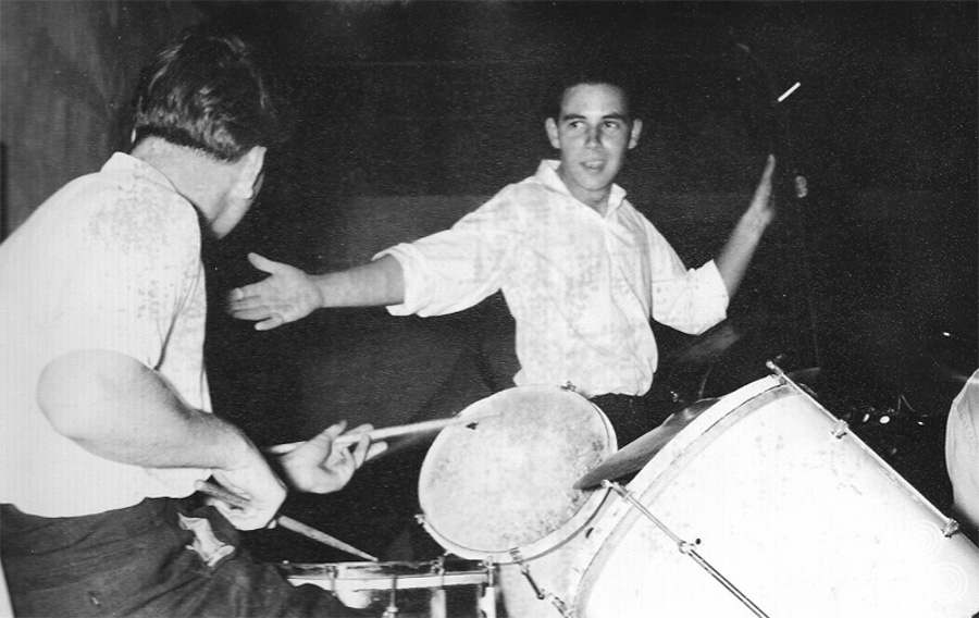 """Brian: """"Me with Pete, the drummer in the middle of a solo during a performance by the 'Ala Keefeg Stompers' (band name in Arabic, probably incorrect spelling), in the NAAFI at RAF Nicosia Cyprus"""""""
