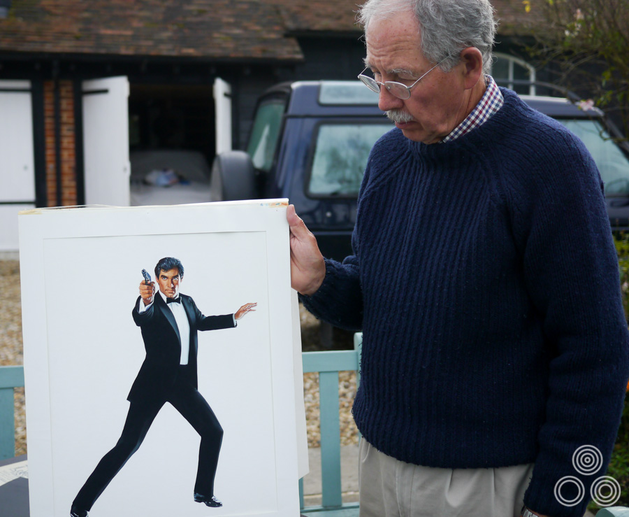 Brian Bysouth with the final painted figure of Timothy Dalton from The Living Daylights quad (1987), painted by the artist. Photo, 2012