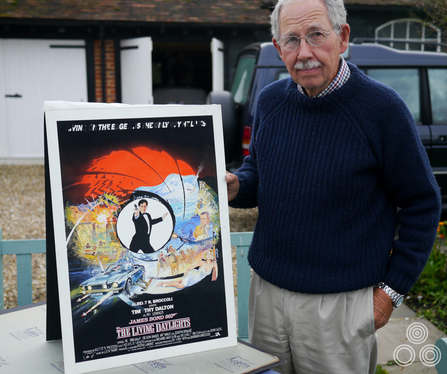 The artist Brian Bysouth with the original sketch for The Living Daylights poster, 2012