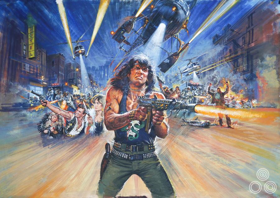 The original artwork for Bronx Warriors 2 (AKA Escape 2000) by Brian Bysouth, 1983