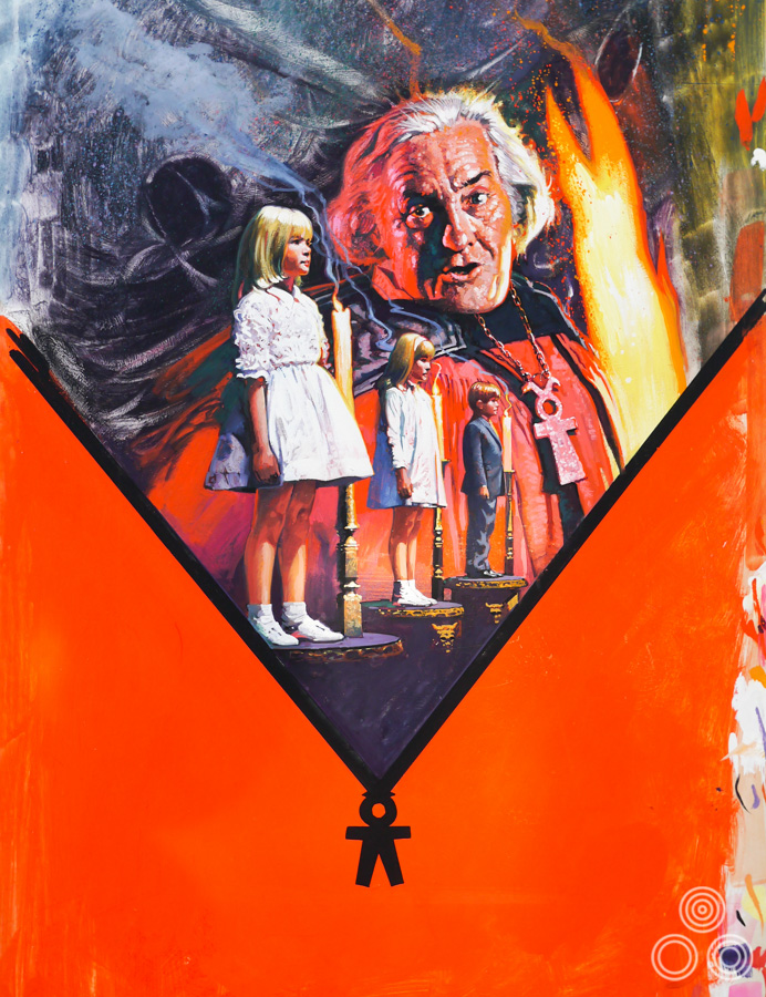 Artwork for the cover of the VHS re-release of The Brotherhood of Satan (1971) by Brian Bysouth, 1983
