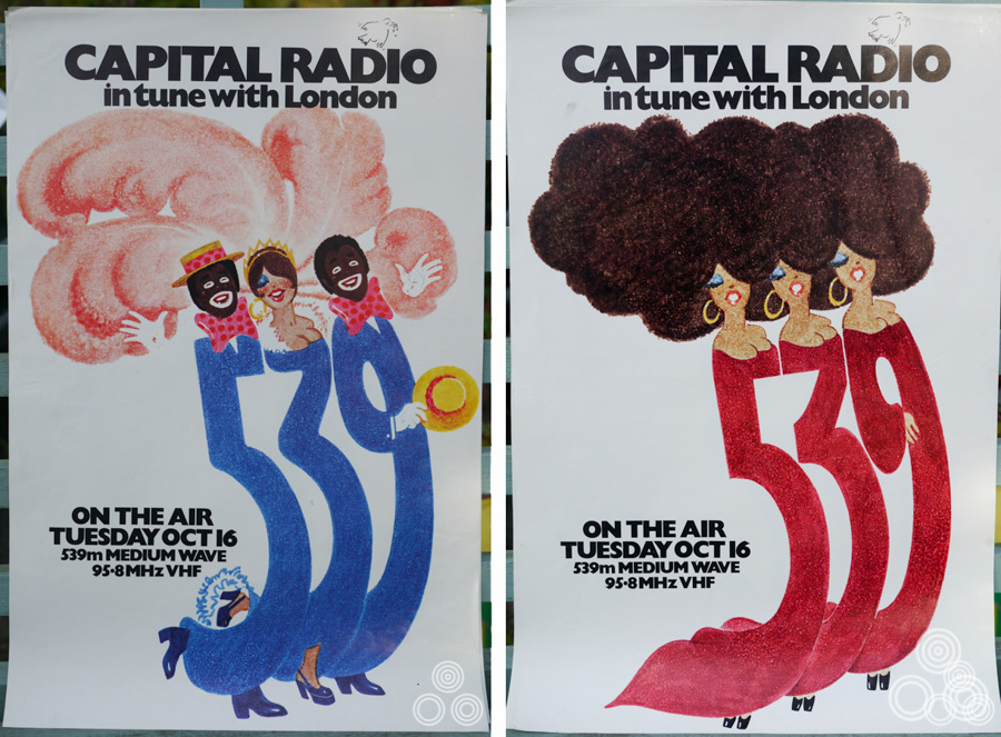 Two advertisements (out of a total of four) that were designed and painted for the launch of Capital Radio by Brian Bysouth, 1973
