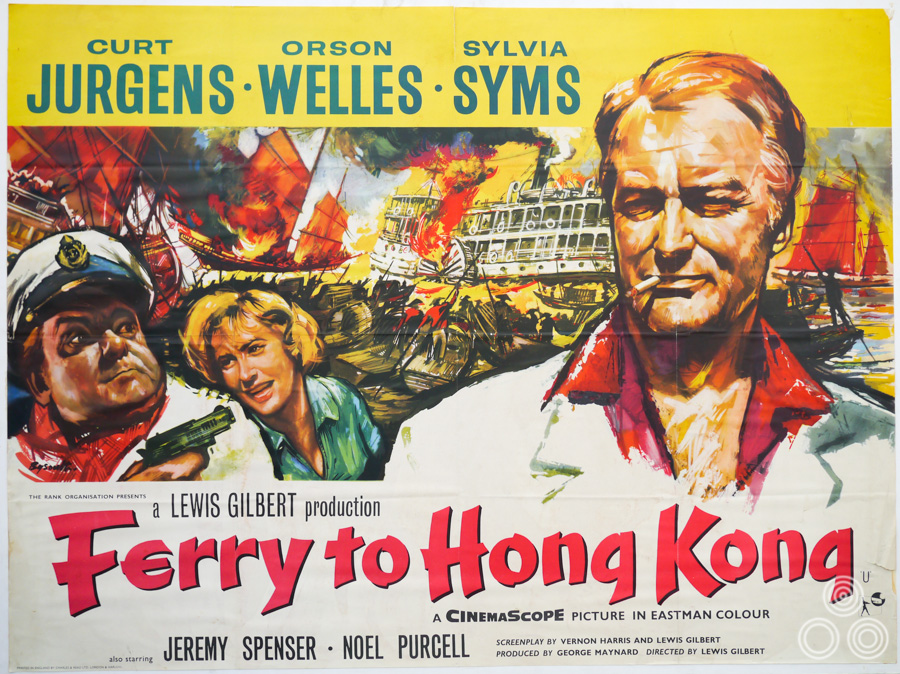 The British quad for Ferry to Hong Kong with artwork by Brian Bysouth, 1959