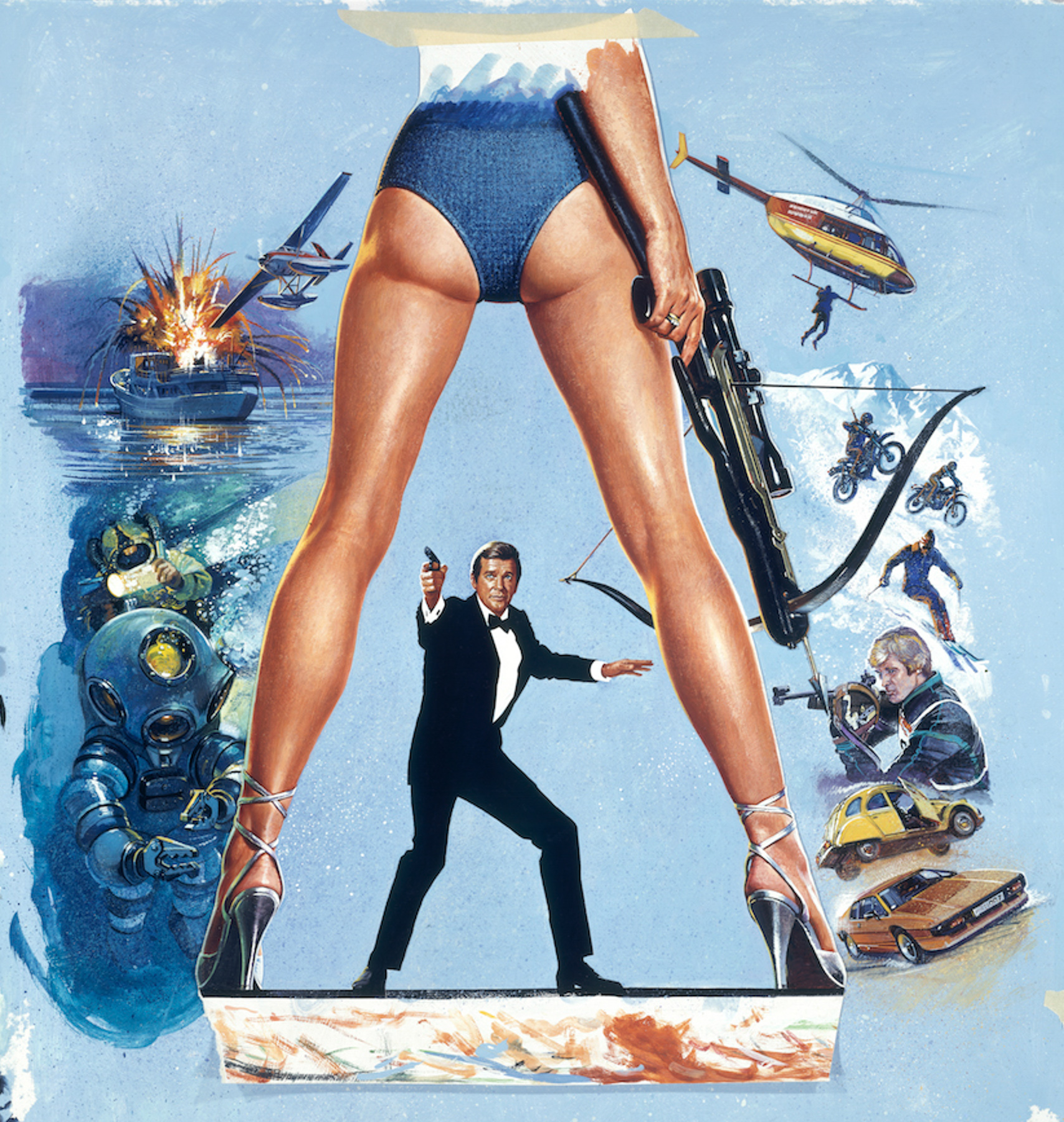 The original artwork for For Your Eyes Only (1981) painted by Brian Bysouth. This is an image of the 8x10 inch transparency that would have been used by the studio (FEREF) to have the poster printed. Brian painted the legs and the character of Bond separately from the surrounding montage, which is why you can see the rough tape at the top and bottom holding the parts in place. This image comes from the private archive of Thomas Nixdorf, Germany