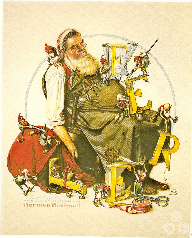 A Christmas card depicting Fred Atkins as FEREF's own Father Christmas, painted by Brian Bysouth