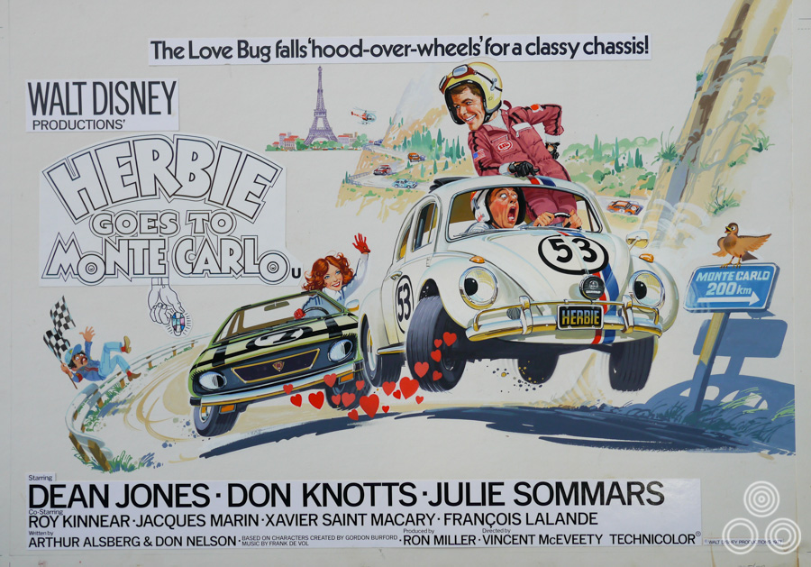 The original artwork for Herbie Goes to Monte Carlo, designed and painted by Brian Bysouth, 1977
