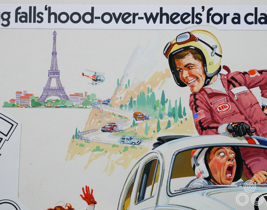 A close up of the artwork for Herbie Goes to Monte Carlo by Brian Bysouth