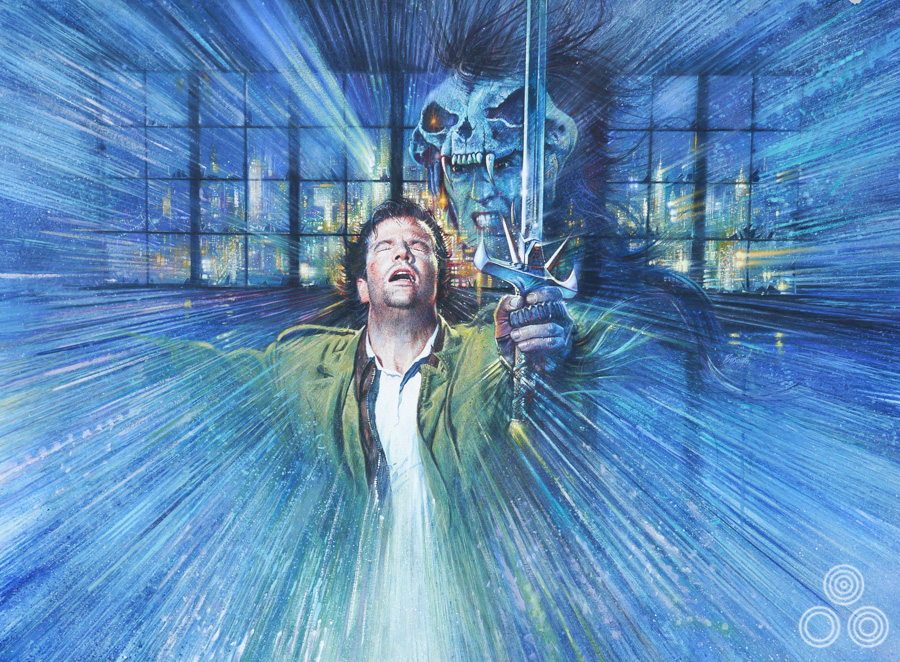 The original artwork for the Highlander poster with artwork by Brian Bysouth, 1986