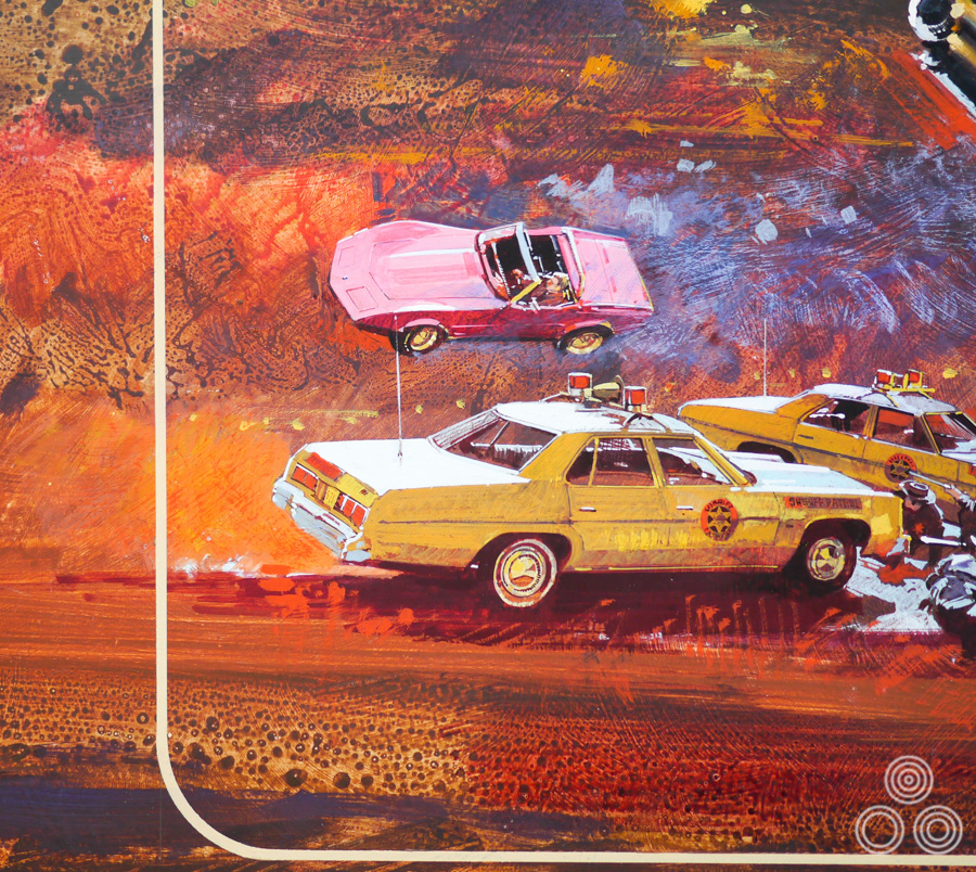 Close up detail of the artwork for Legend of the Lawman, painted by Brian Bysouth, 1975