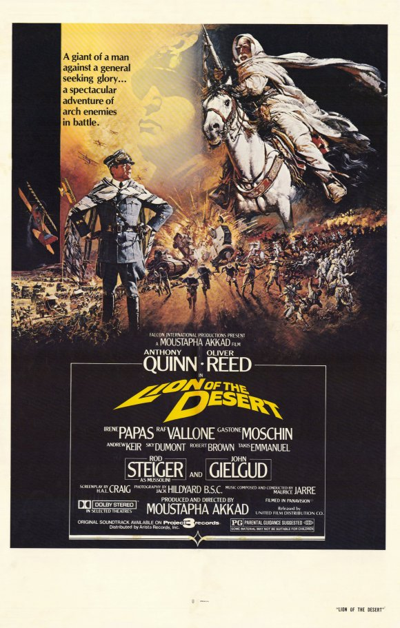The US one sheet for Lion of the Desert with artwork by Brian Bysouth, 1981. The artists paintings have been used around the globe to advertise films.