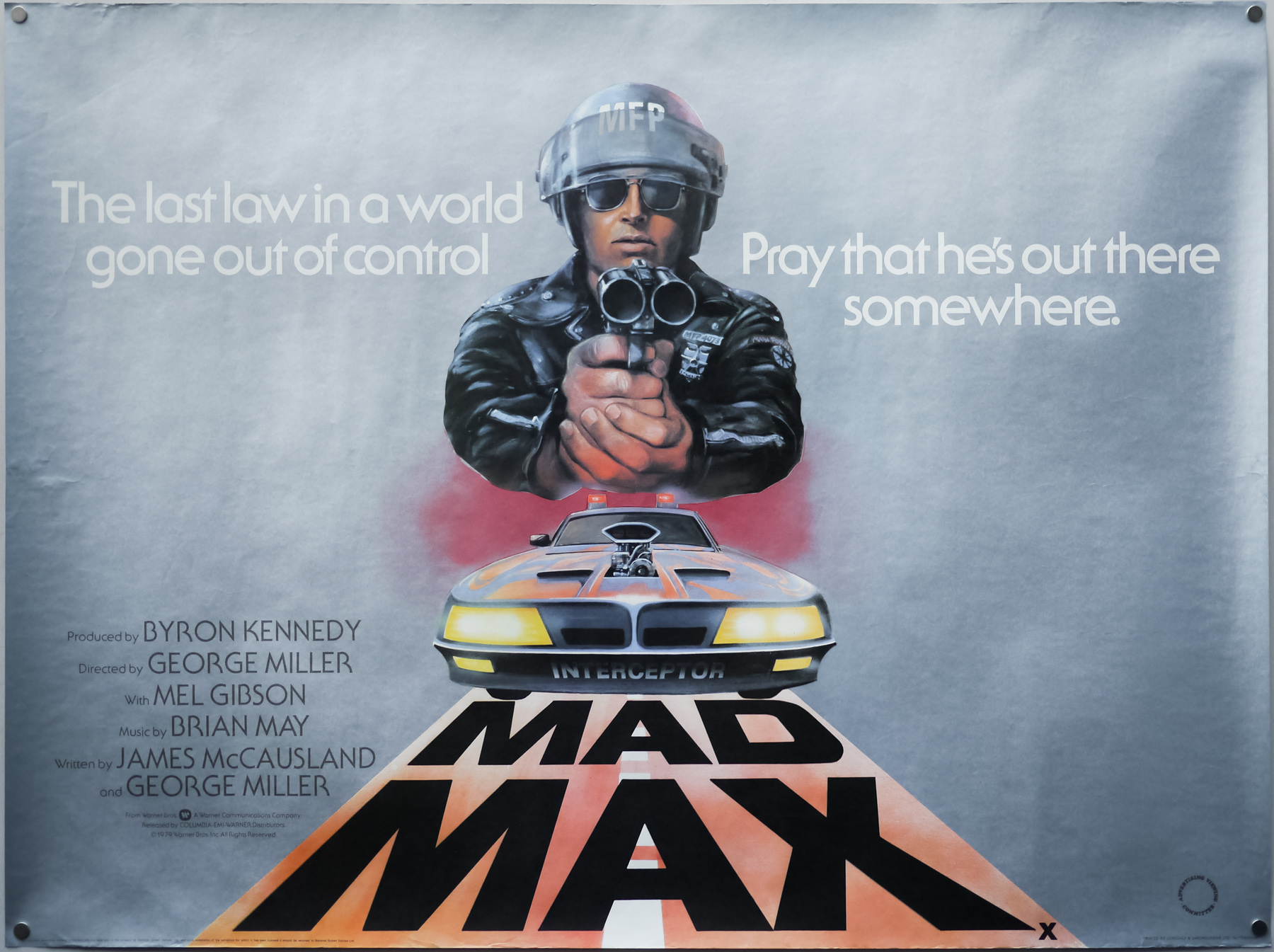 The UK quad for Mad Max, designed and illustrated by Tom Beauvais, 1980