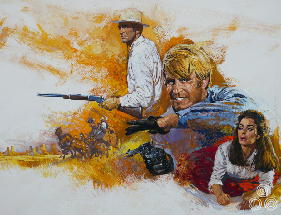 The original artwork for Rough Night in Jericho (1967) painted by Brian Bysouth. Note that the artwork was printed with the portrait of Jeans Simmons blanked out.