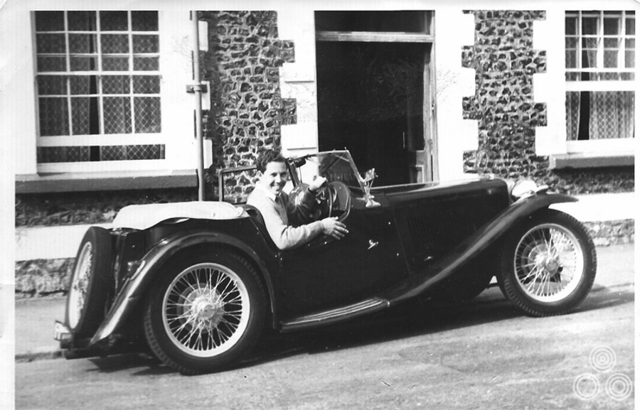 Brian: 'This is a holiday snap of me enjoying my 1940 MG TB, outside the Dolphin Hotel in Beer, Devon. The MG was bought for £275 when working for Eric Pulford and Ron Hornsby at Downtons Fleet St. I wish I still owned it!