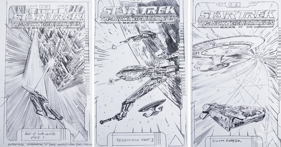 Sketches for VHS covers for Star Trek Next Generation by Brian Bysouth