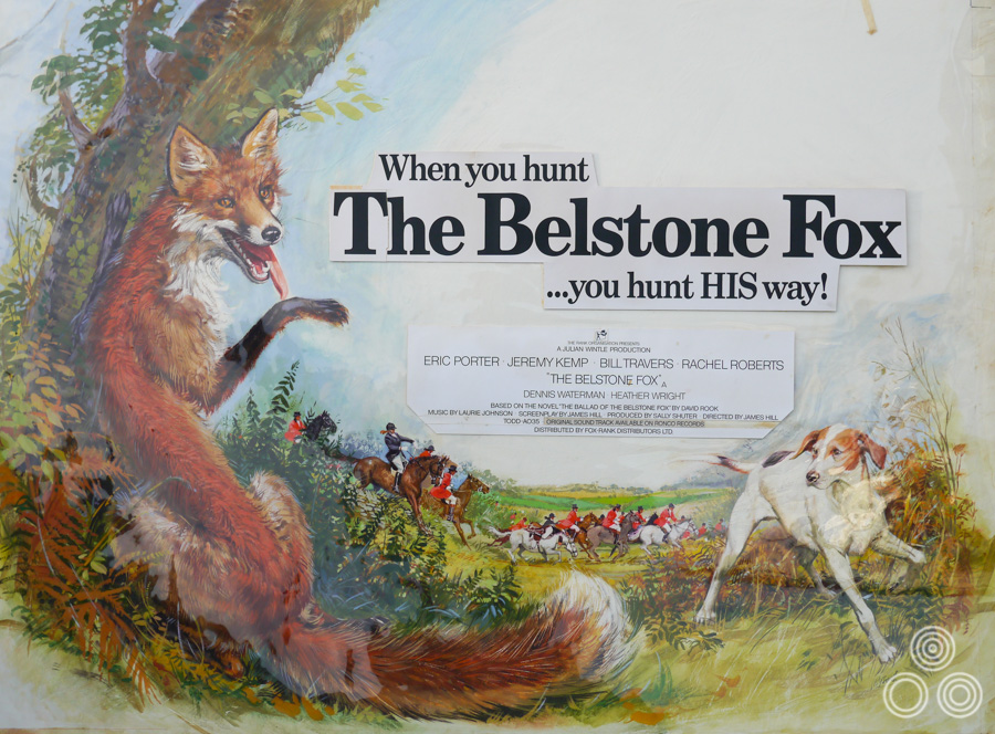The original artwork for The Belstone Fox with transparent overlay showing position of the copy, painted by Brian Bysouth, 1973