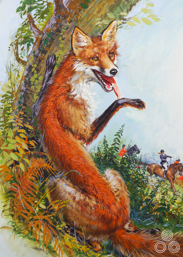 Close up detail of the original artwork for The Belstone Fox by Brian Bysouth, 1974