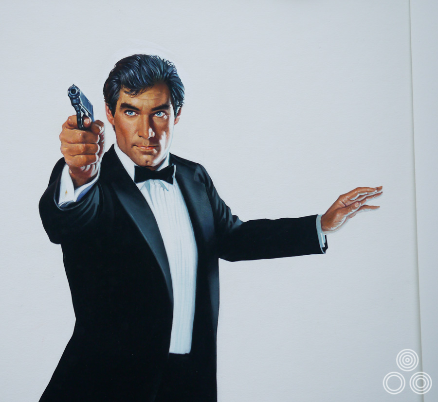 Close up of the final painted portrait of Timothy Dalton for The Living Daylights poster by Brian Bysouth, 1987