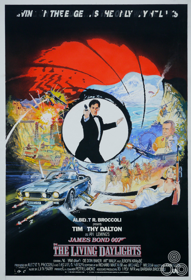 The original coloured sketch for The Living Daylights poster by Brian Bysouth, 1987