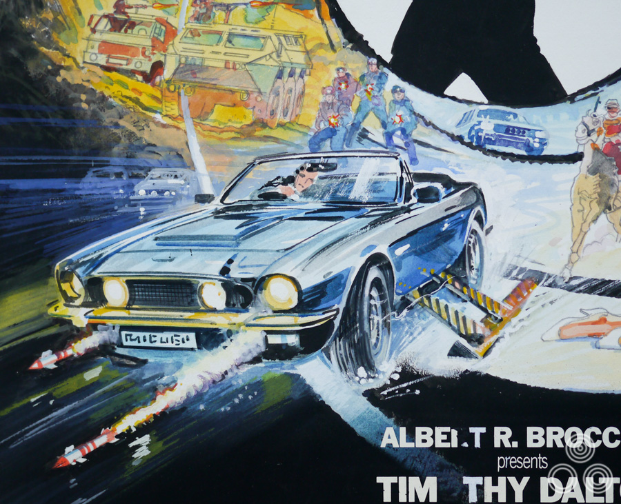 Detail of the original sketch for The Living Daylights poster by Brian Bysouth, 1987