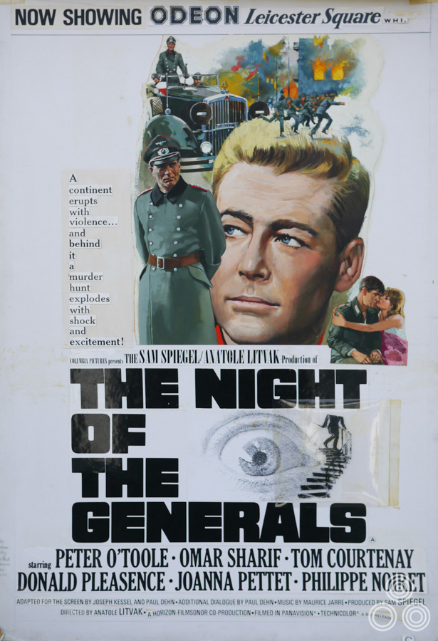 The original artwork for The Night of the Generals, with the layout of the title and copy stuck over the top ready for printing, by Brian Bysouth, 1967
