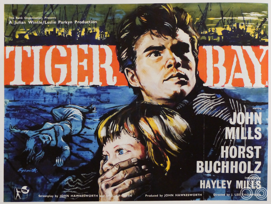 The quad for Tiger Bay, with artwork by Brian Bysouth, 1959