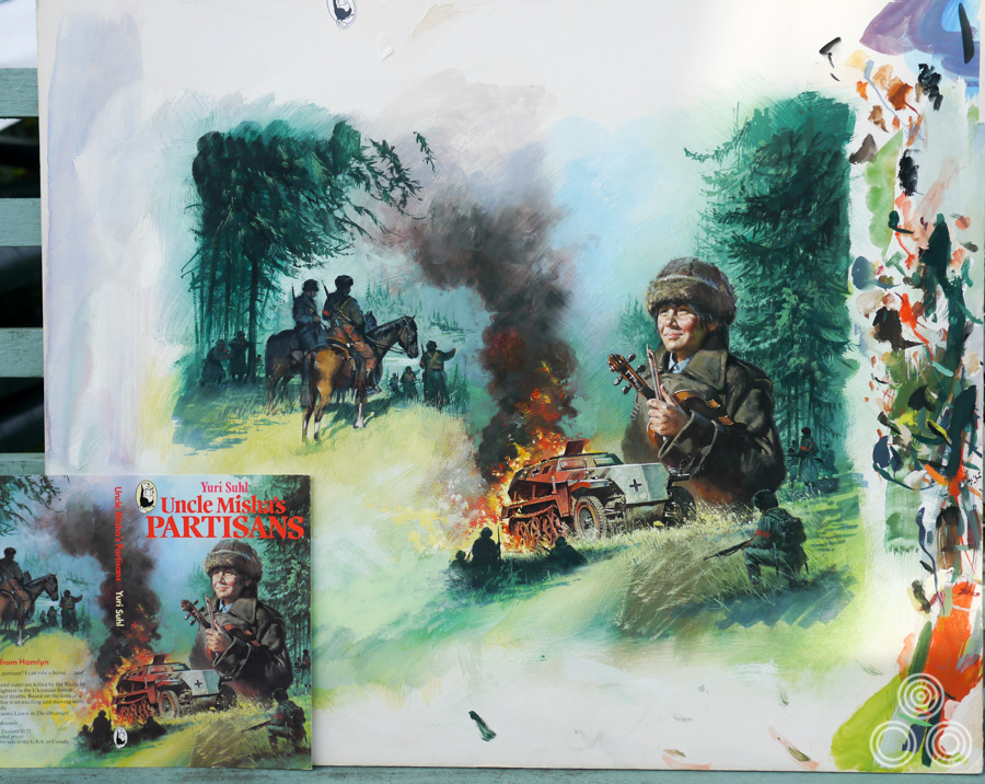 The original artwork for Uncle Misha's Partisans, painted by Brian Bysouth with the final printed cover in the bottom left, 1979