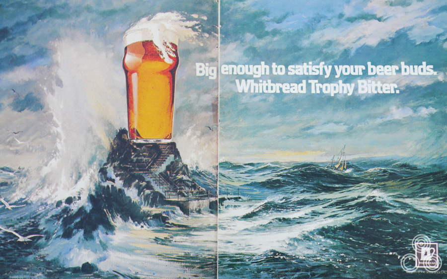A double-spread advert for Whitbread Bitter for the Around the World yacht race by Brian Bysouth (this was designed to also function as a 48-sheet poster), 1977