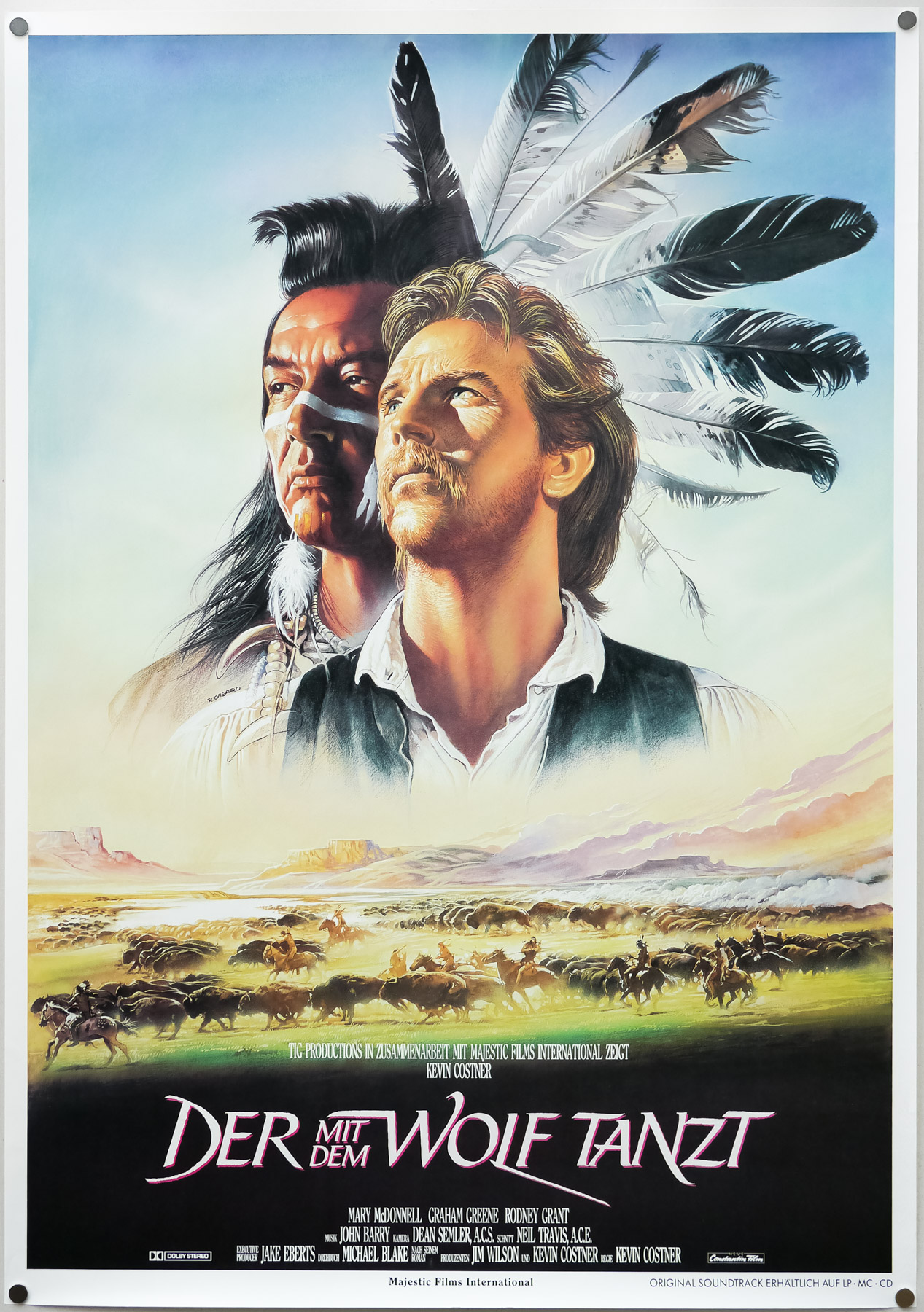 The German poster for Dances With Wolves, designed and painted by Renato Casaro, 1990