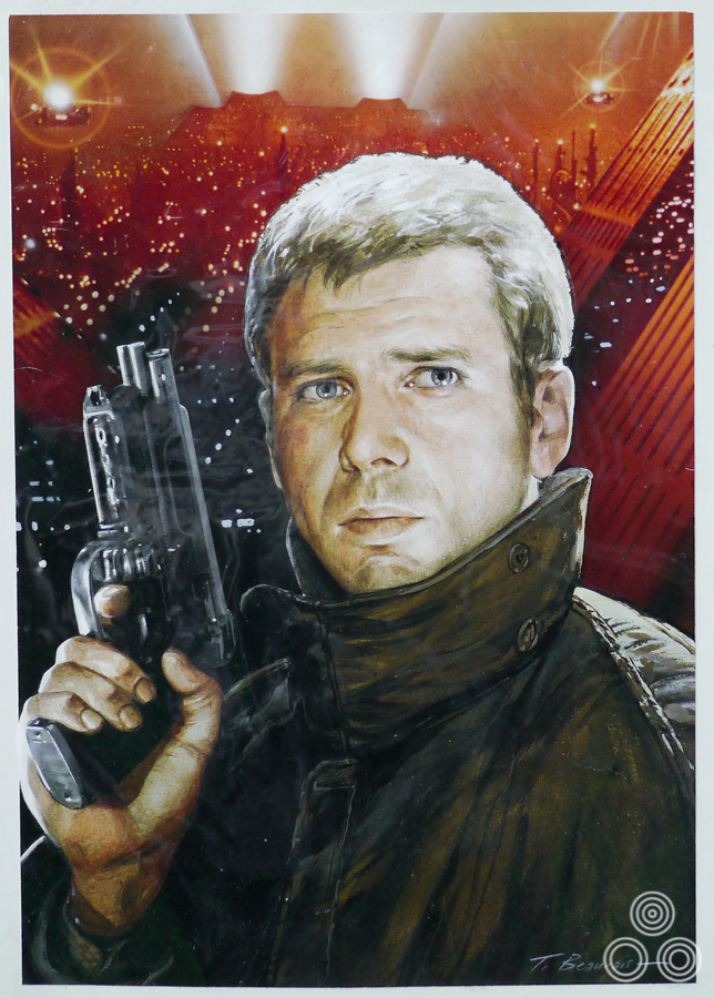 A portrait of Harrison Ford that was painted as part of an unused concept design for the UK poster of Ridley Scott's classic Blade Runner