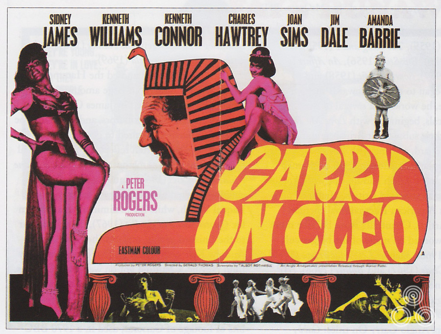 The hastily designed second version of the Carry on Cleo quad that was printed soon after the court case brought about by 20th Century Fox who claimed the first version was too close to the illustration on their poster for Cleopatra (1963).