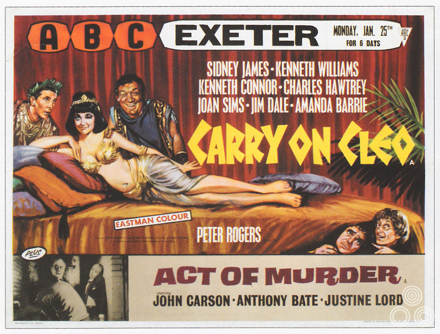 The first version of the UK quad for Carry on Cleo that was designed by Tom Beauvais and illustrated by Tom Chantrell in 1964.