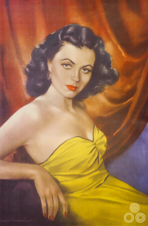 A portrait of the actress Faith Domergue that was painted by Arnold Beauvais (Tom's father) in 1952